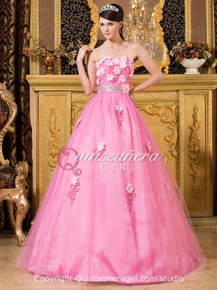 Puffy Flower Sweetheart Corset Tulle Floor Length Quinceanera Dress ...