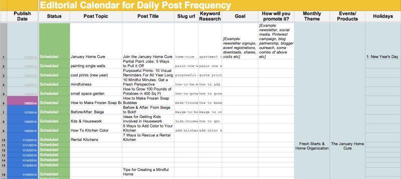 Editorial calendar template #Contentmarketing Content marketing