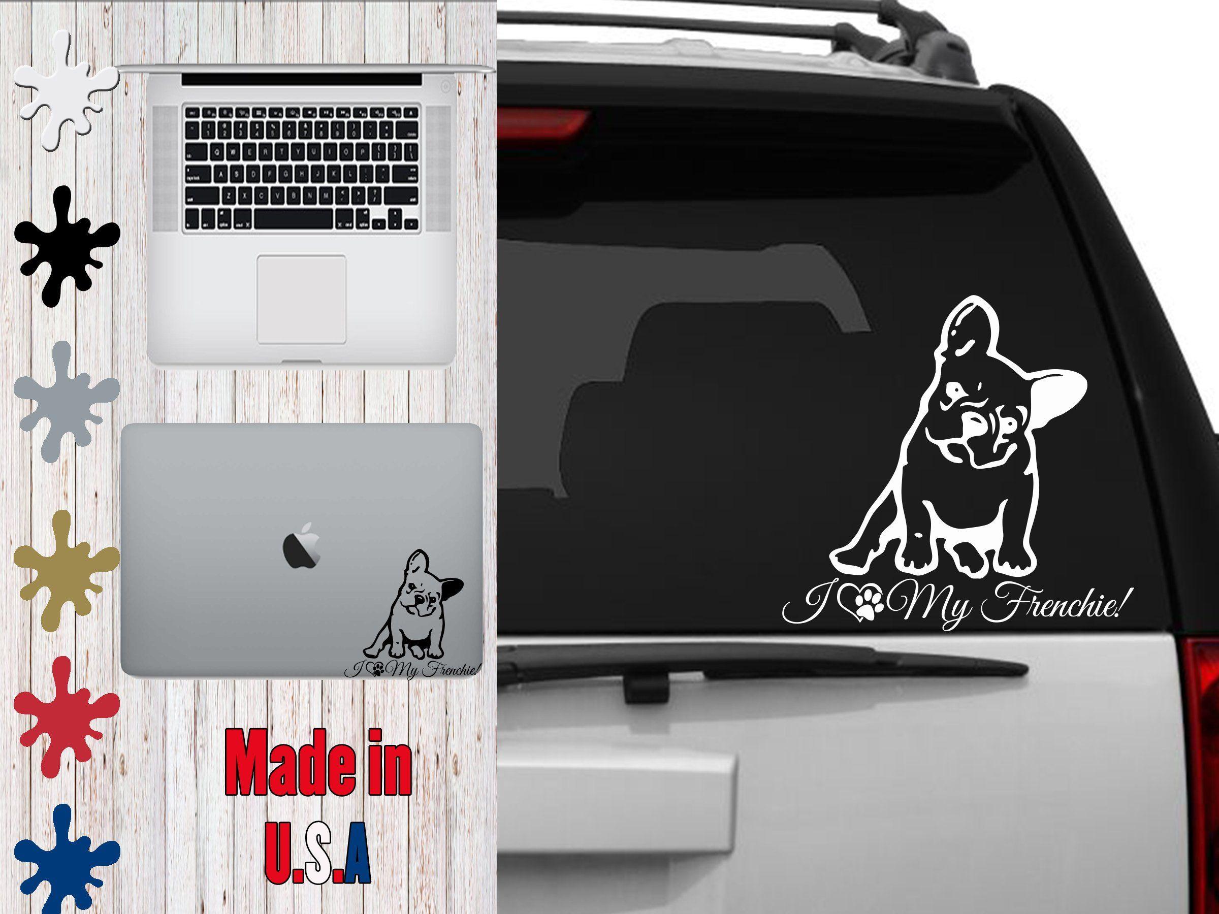 I Heart My Bulldog Dog Vinyl Decal Sticker Pet Love Puppy Car Laptop Phone