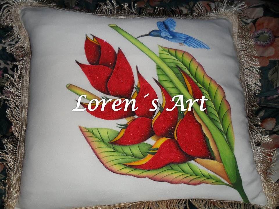 Cojin pintado a mano sobre tela cojines de diario - Cojines pintados en tela ...