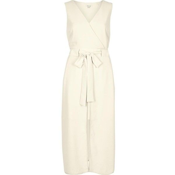 148dfb6aaf593 River Island Cream layered wrap dress ( 90) ❤ liked on Polyvore featuring  dresses