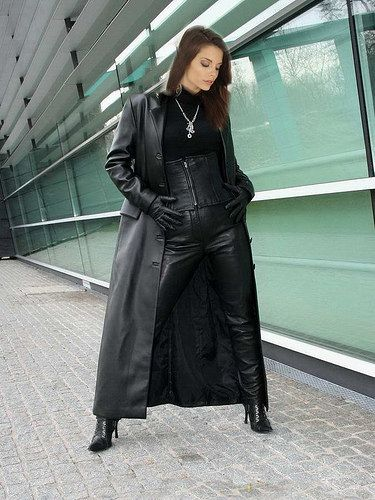 Gorgeous woman wearing long leather coat | Grey Fox | Flickr ...