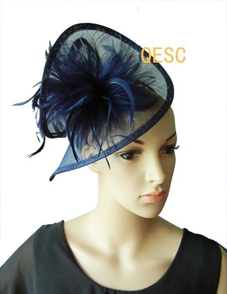 f5f8e9d84af Aliexpress.com   Buy Navy blue organza hat  bridal hats with leaf flowers  for wedding races party church Kentucky Derby. from Reliable hat bands for  cowboy ...