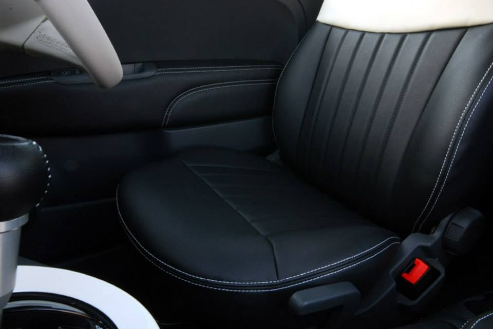 Black And White Leather Seat Cover For FIAT500