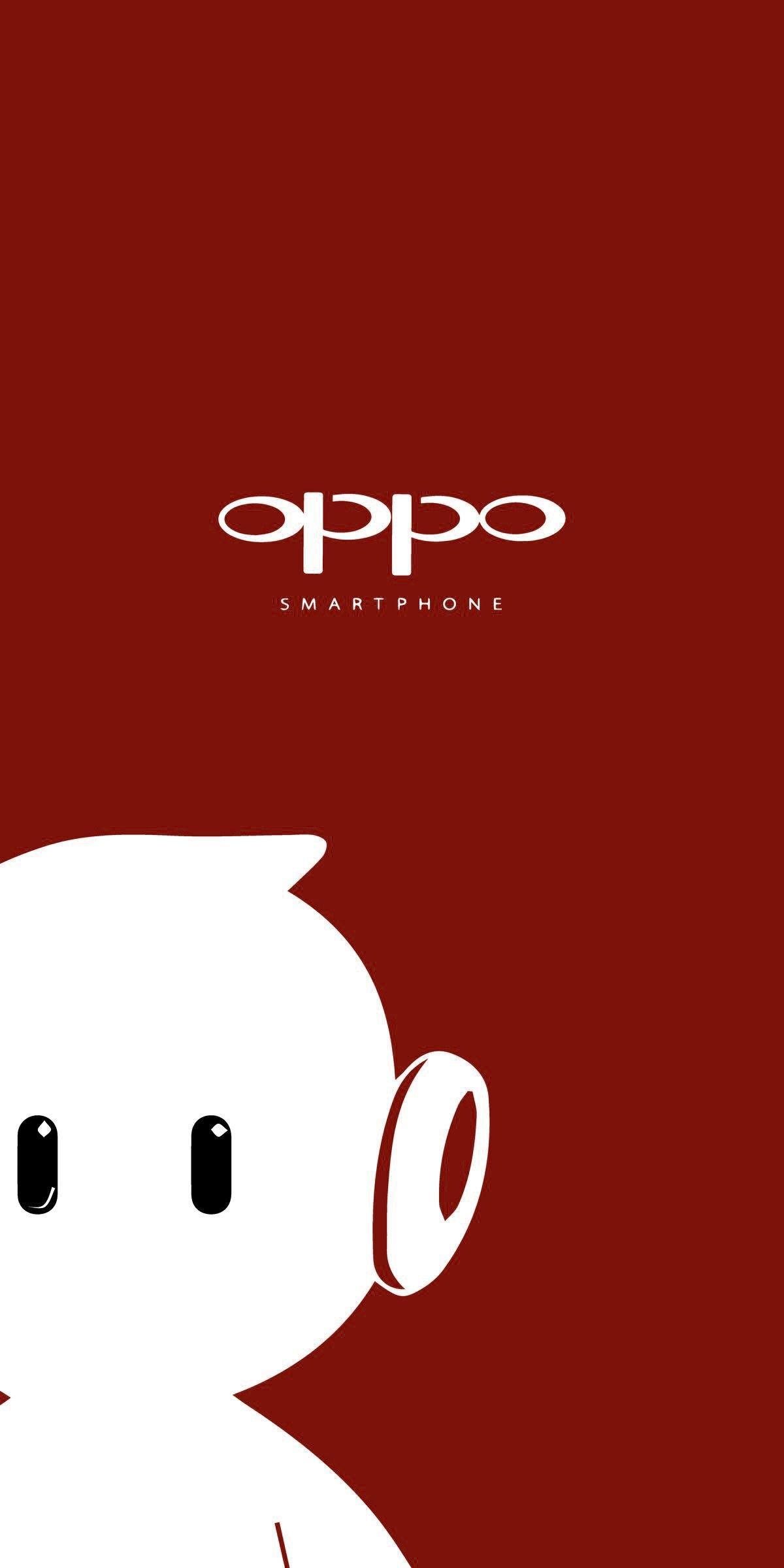 Oppo White Ollie And Red Background Seni Wallpaper Ponsel Gambar