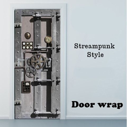 Steampunk design interior Door wrap sticker | Mondays, Steampunk ...