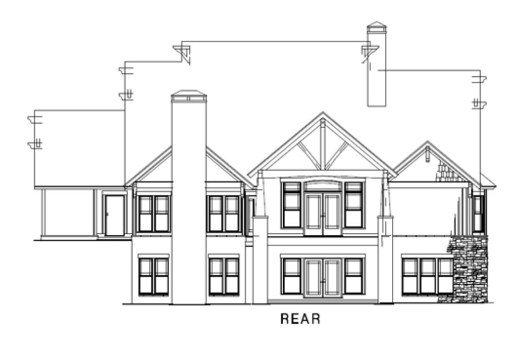Country Craftsman Rear Elevation of Plan 82259