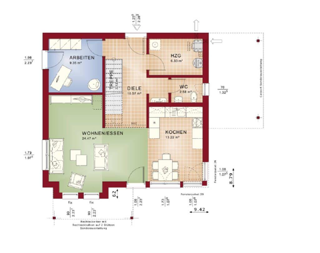 Einfamilienhaus Grundriss EG * Haus Evolution 136 V4 Bien Zenker ...