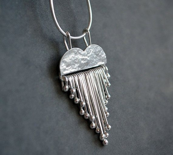Sterling silver heart necklace. Silver heart pendant. Silver jewellery. Handmade.
