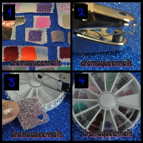the blog tonight how to make polish decals. Here's a super condensed version. 1. Paint 2 thick layers of polish on baking paper, let dry overnight. 2. Choose a cute shaped hole punch. 3. Peel off the baking paper and punch away. 4. Store in a decal wheel for whenevs!! Too easy!! For more info read the entire post :)