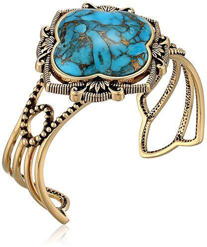 "Barse Sanibel"" Turquoise Metal Matrix Cuff Bracelet, 2.5"" on shopstyle.com"