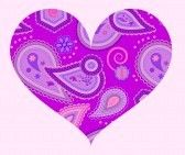 Lilac : Stylized heart with abstract ornament of paisleys in lilac and violet colors