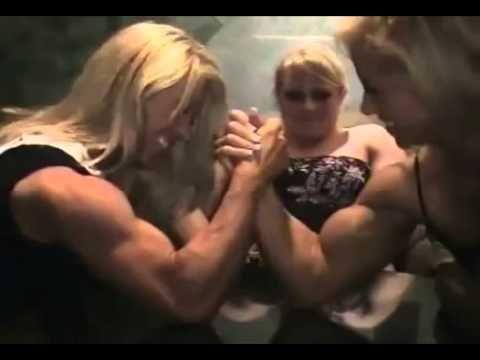Girls body builder arm wrestling