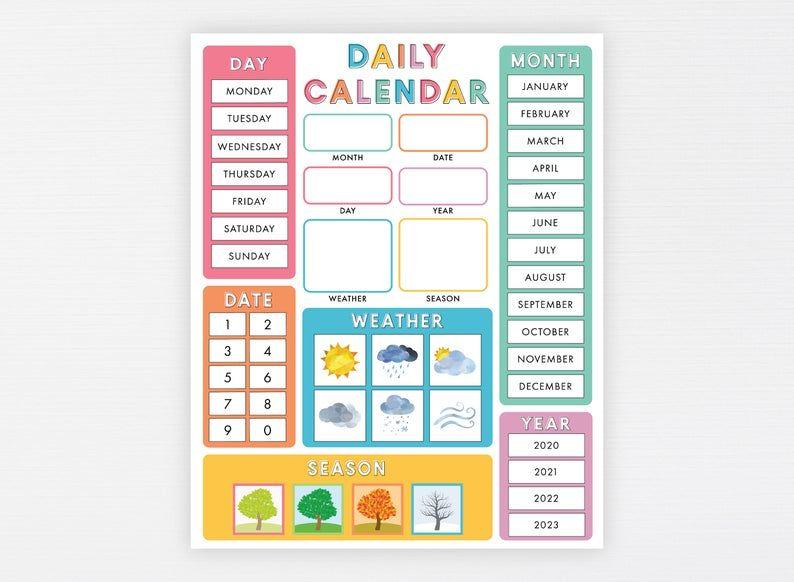 Child Calendar Printable Montessori Preschool Classroom ...