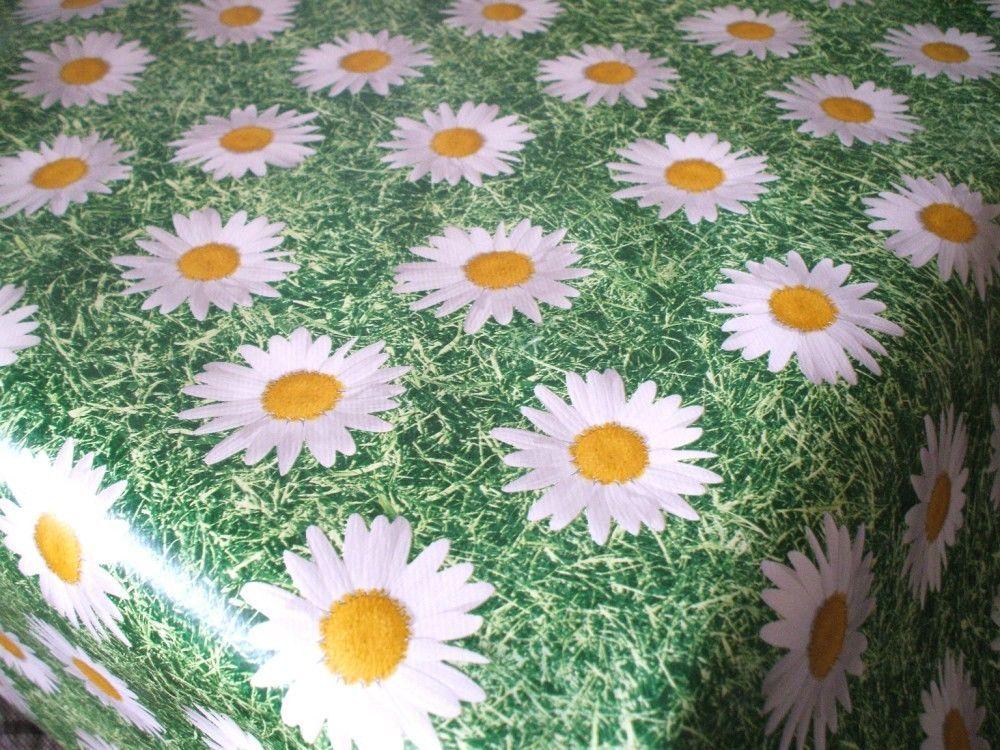 Wipe Clean Tablecloth Oilcloth Vinyl PVC Daisy On Grass