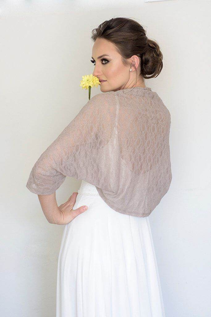 Plus size wedding bolero, taupe lace cover up, XL floral ...