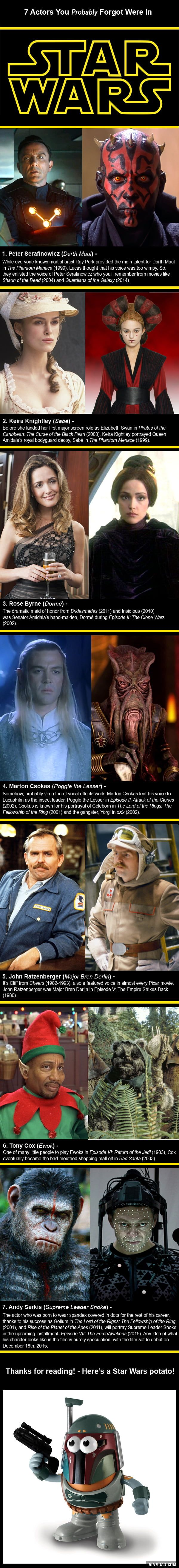 7 Actors You Probably Forgot Were In Star Wars Star Wars Humor Star Wars Geek Star Wars Facts