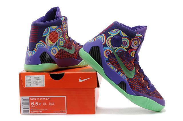 Mens   Womens Nike Zoom Kobe IX Kobe 9 Original Basketball Shoes Purple  Green Mixing Colors 5443ad6e5d