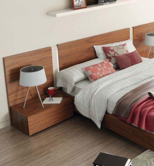 Dormitorio slaap con cabecero fly con luz led acabado nogal americano y blanco mate Cabeceros con luz
