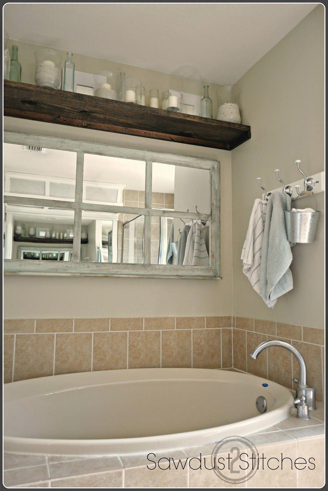 Window Framed Mirror Sawdust 2 Stitches Bathtub Decor Home Amazing Bathrooms