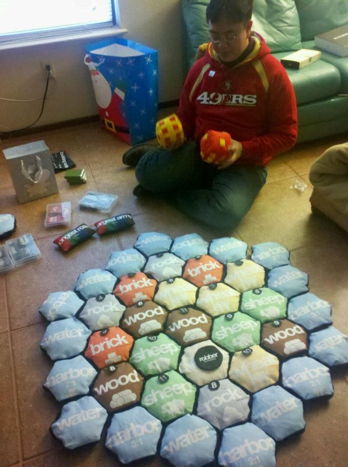 """interesting - quilted, stuffed, and totally playable """"soft"""" Catan - sadly no matter how poofy you make it, you just can't make Catan a quiet game :D"""