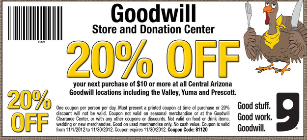image regarding Goodwill Coupons Printable referred to as November Goodwill 20% off Coupon for Arizona Merchants