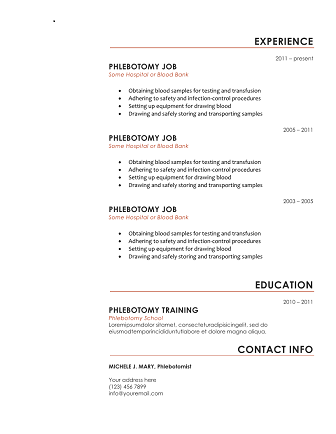 10 Free Phlebotomy Resume Templates To Get You Noticed Now  Phlebotomist Resume Sample