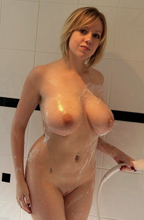 Busty mum in shower