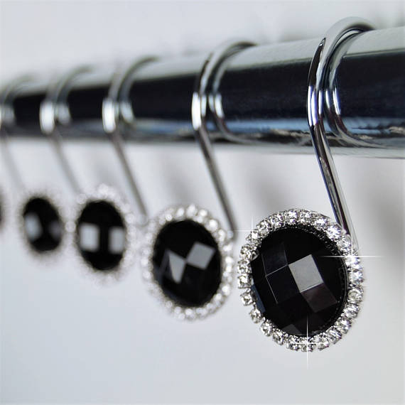 Shower Curtain Hooks Rings Black Crystal Diamond Gems Bling Rhinestone Bathroom Bath Set Women Gir In 2020 Shower Curtain Hooks Black Rings Black Shower Curtains