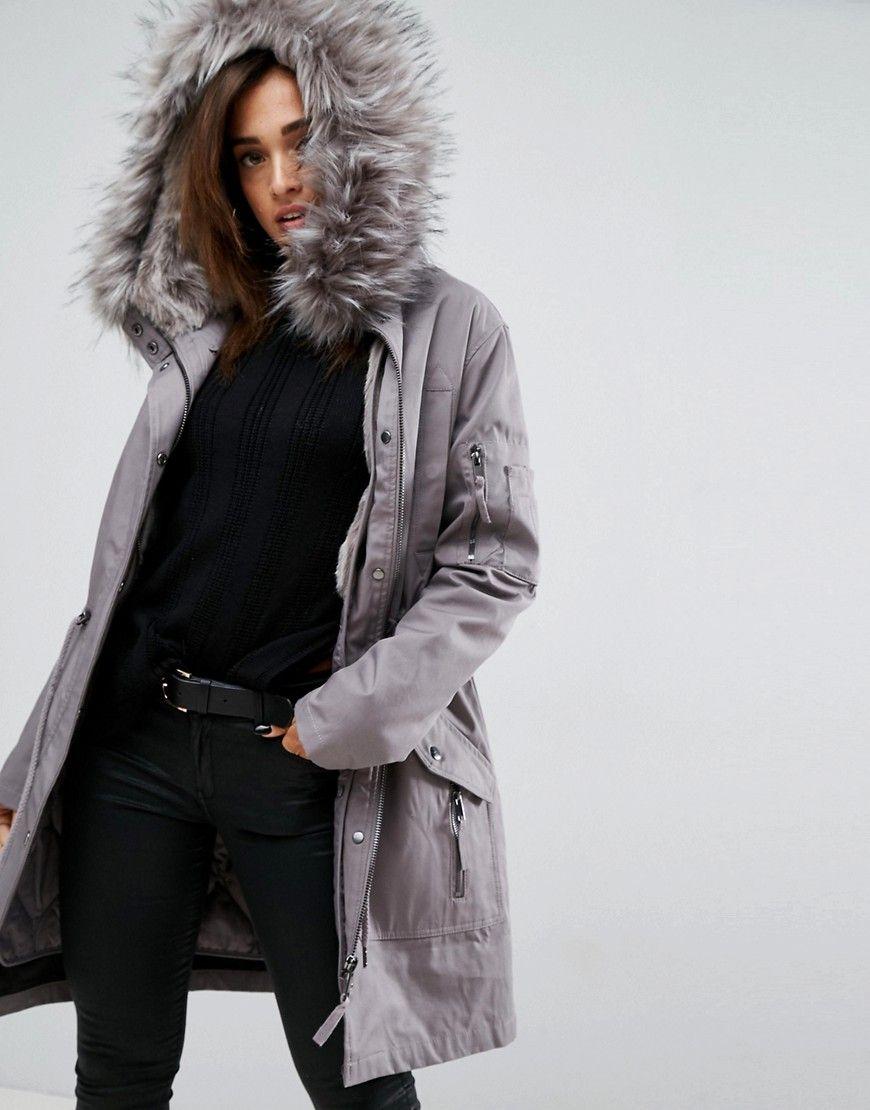 f49c14697802 ASOS Parka with Detachable Faux Fur Liner - Gray