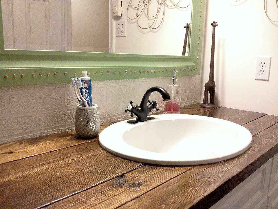 i needed a cheap solution for the vanity top in our bathroom and rh pinterest com