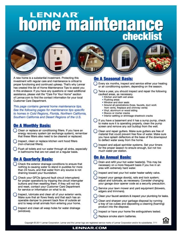 Home Maintenance Checklist By Lennar