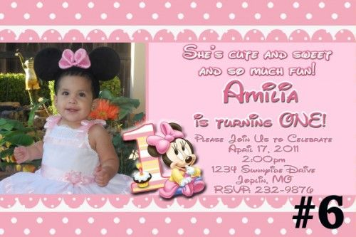 Download how to write a birthday invitation free printable 20 or more printed baby minnie mouse first birthday invitations with photo minnie mouse birthday invitation filmwisefo Image collections