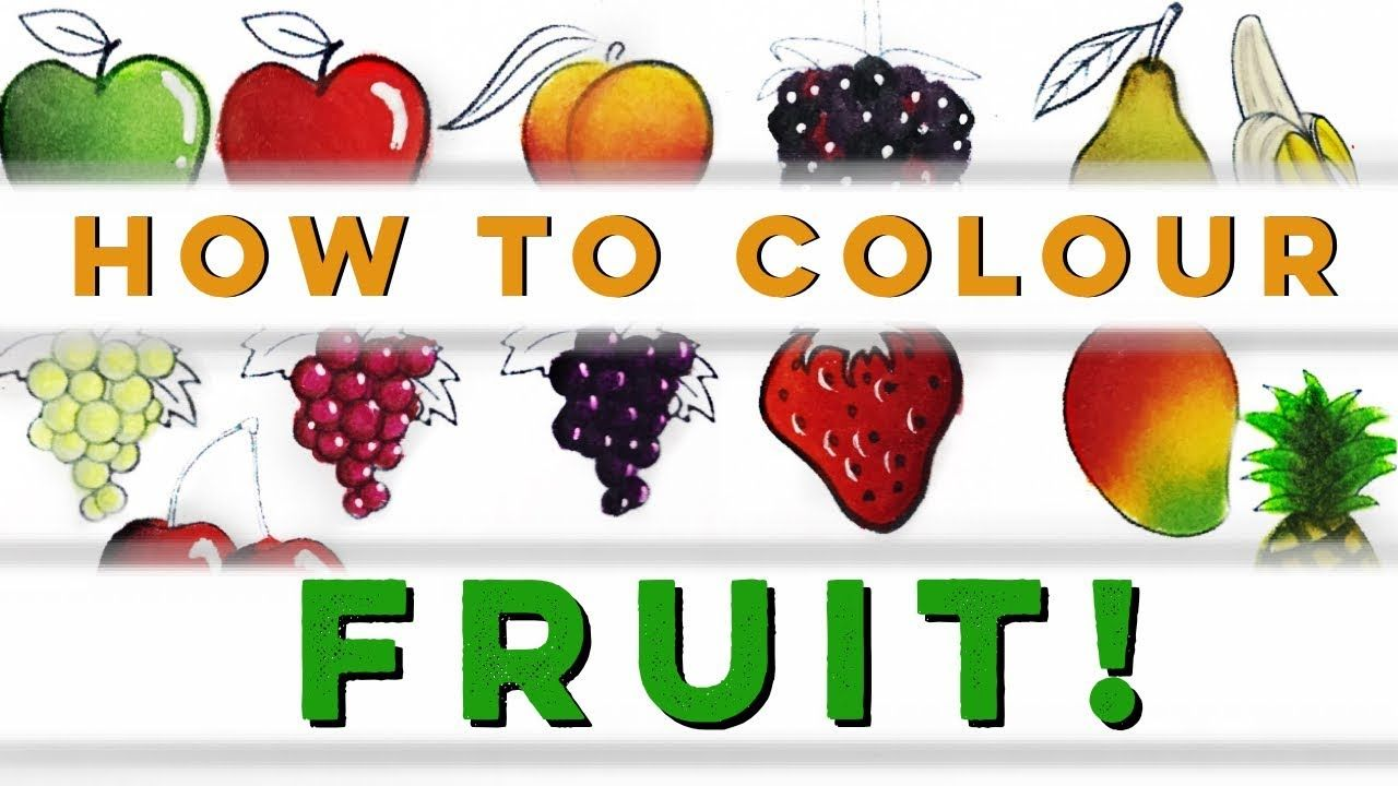 Tutorial how to colour fruit with coloured pencils art coloured