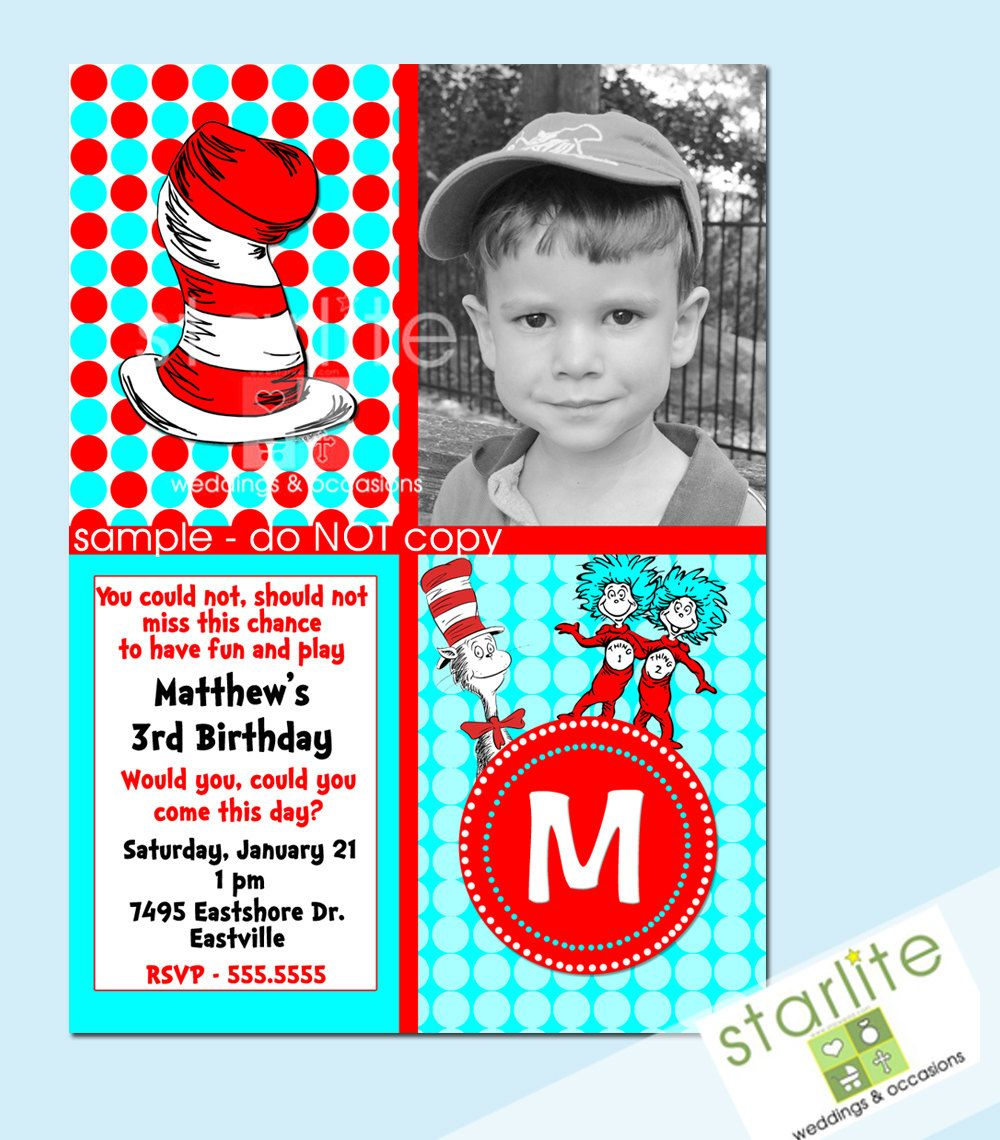 Cute Dr. Seuss birthday invite | Birthday Party Ideas for Babies ...