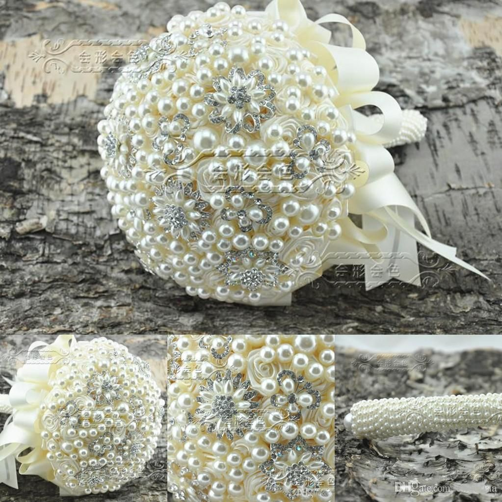 Wedding decorations luxury   Luxury Full Pearls Crystal Brooch Weddings BridalBridesmaid