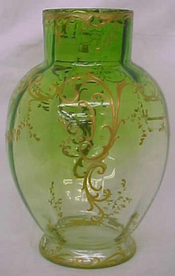 C1800s Green Glass To Clear Glass 10 Inch Tall Very Large Gold
