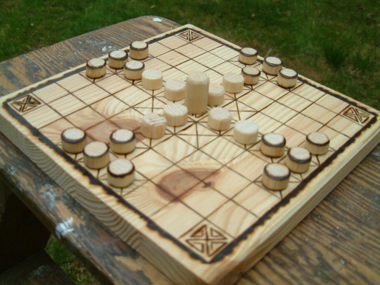 An old viking Board game. Hnefatafl, Wood games