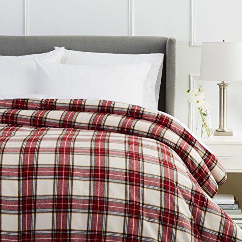 Pinzon Plaid Flannel Duvet Cover Full Queen Cream Red