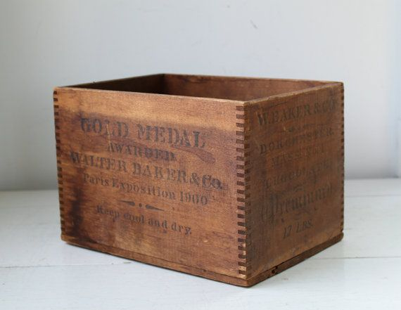 Antique 1900s Wood Crate For Walter Baker Co Premium Chocolate Rustic Industrial Storage Wood Crates Vintage Wood Box Crates