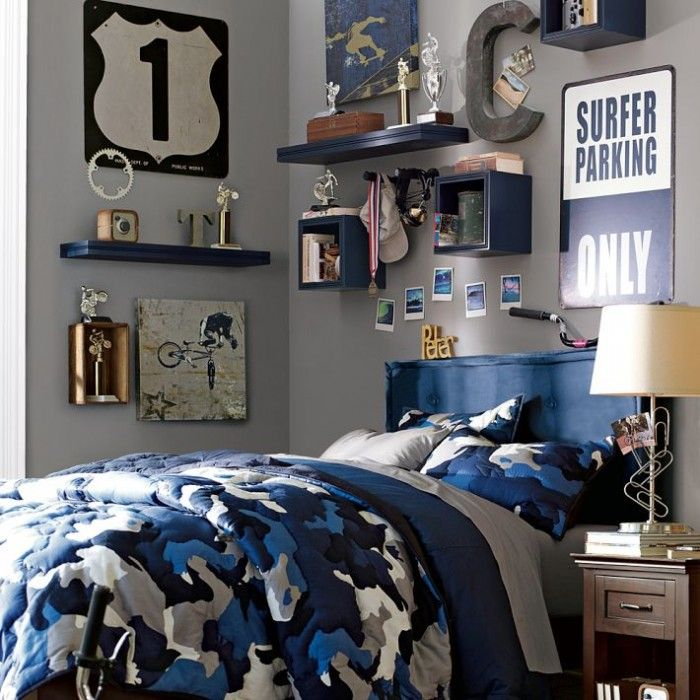 cool boy bedroom design ideasstreet theme blue headboard and quilt with grey wall decor - Cool Bedroom Design Ideas