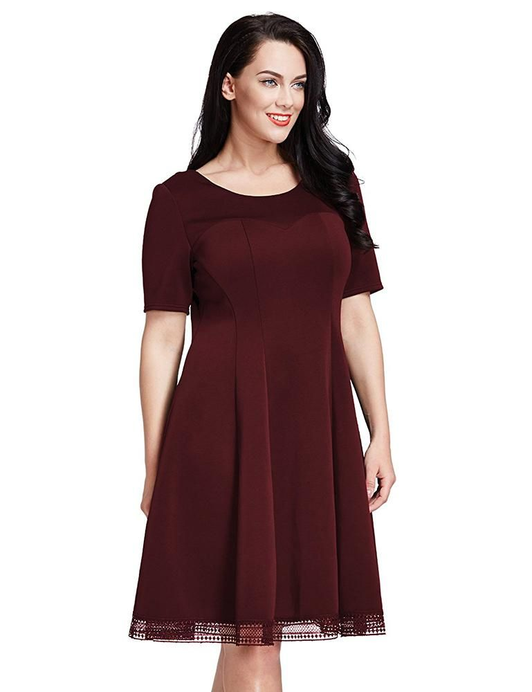 005a3987136e6 This simple A-line plus size short dress comes with a short sleeve ...