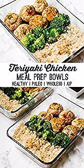 Teriyaki Chicken Meatball Meal Prep Paleo Whole30 AIP  Unbound Wellness This teriyaki chicken meatball meal prep recipe is great for prepping on the weekend to have lunch...