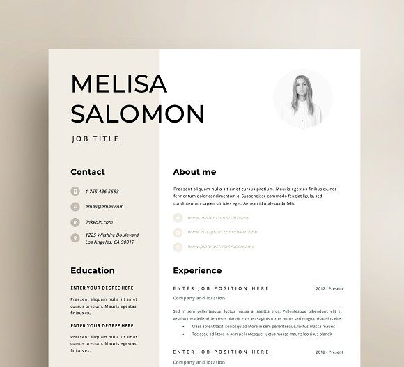 Resume Template 1 page Rome by Resume Angels on @creati\u2026 Clean