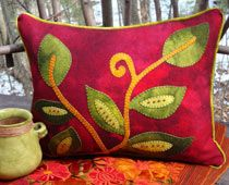 Vintage Vines Wool Applique Throw Pillow kits & patterns from Wooly Lady