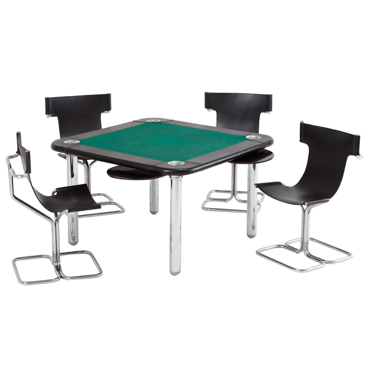 Chrome and Leather Game/Card Table and Chairs  Game table and