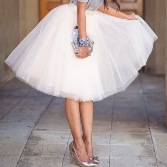 fcf3a24528 Spotted while shopping on Poshmark: HP Ivory Tulle Skirt! #poshmark  #fashion #shopping #style #Boutique #Dresses & Skirts