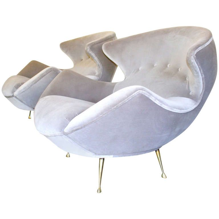 Rare and Exquisite pair of Vintage Sculptural Lounge Chairs  c 1950's is part of Modern lounge chairs - Rare and Exquisite pair of Vintage Sculptural Lounge Chairs   Wonderful profile and large scale   c 1950's