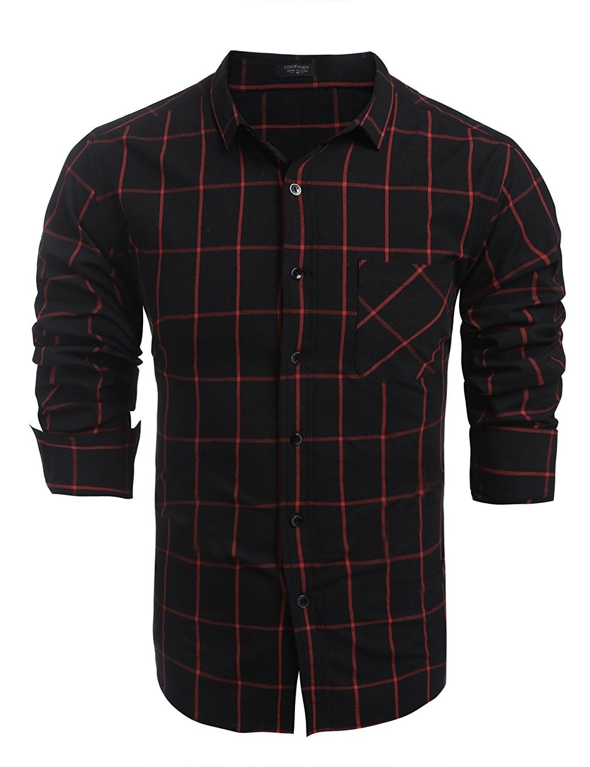 88a770cc Men's Casual Button Down Long Sleeve Dress Shirts Tops Plaid Shirts - Red -  CV12O0AQZ3J,Men's Clothing, Shirts, Casual Button-Down Shirts #Men #fashion  ...