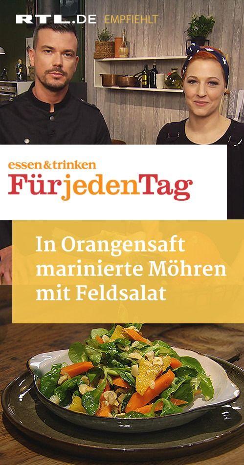 In Orangensaft marinierte Möhren mit Feldsalat